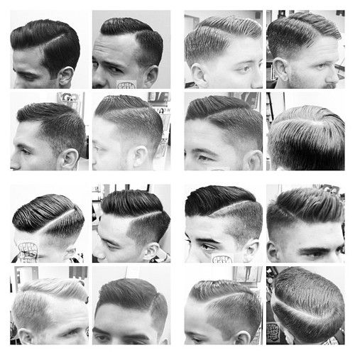 Mens hair cut 1940s and 1950s style. Comb-over slick dapper hair cut. Use clippers to create a larger more prominent part.