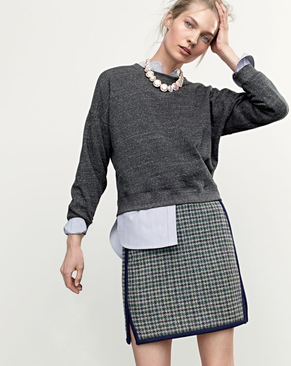 Cute skirt. SEP '15 Style Guide: J.Crew women's lightweight terry sweatshirt, Thomas Mason® for J.Crew collarless tuxedo shirt in stripe and double-notch mini skirt in houndstooth.