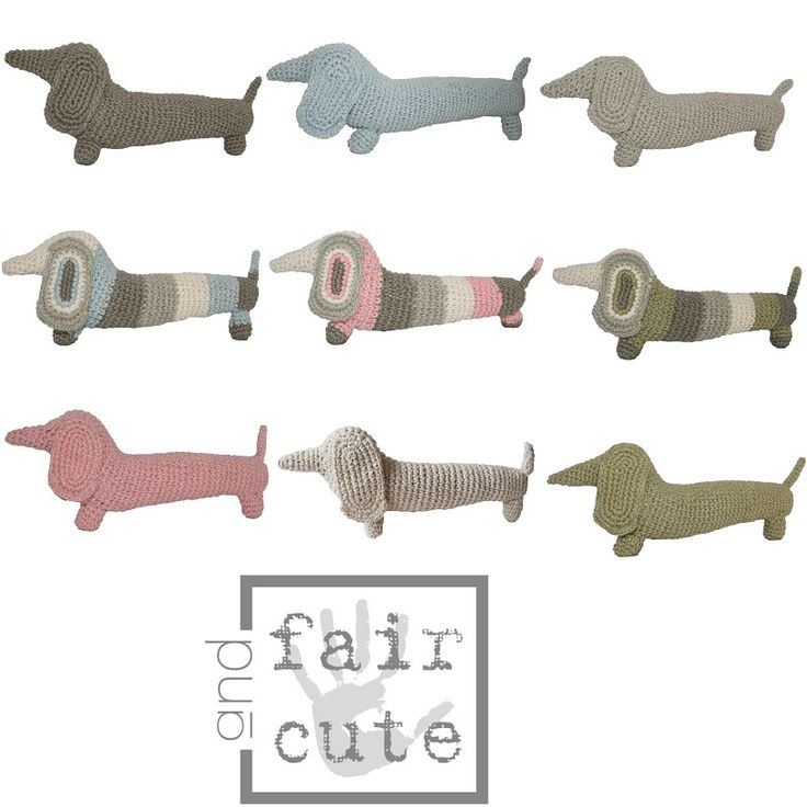 Gebreide knuffel teckel van Fair and Cute, verkrijgbaar in 9 verschillende kleuren! http://aukgaaf.com/nl/trends4kids-brocante-babykamer-landelijke-kinderkamer-complete-babykamers.html?brand=107