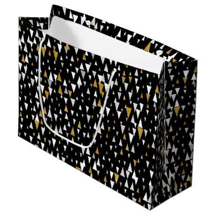 Triangle Modern Art - Black Gold Large Gift Bag - black gifts unique cool diy customize personalize