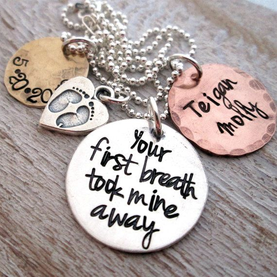 Mothers Necklace - Mixed Metal Your First Breath - hand stamped necklace - mom jewelry on Etsy, $55.00
