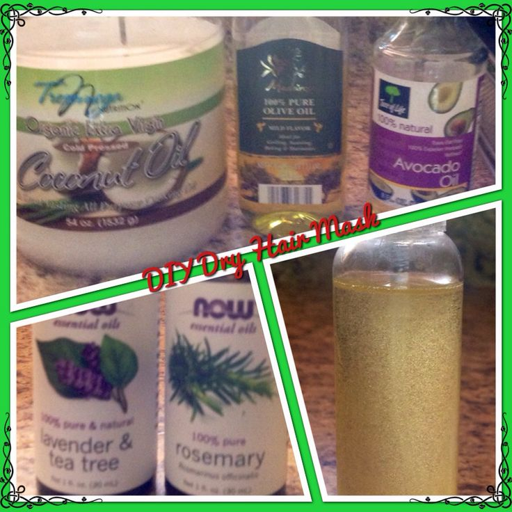 Diy Dry Hair Mask ~ 2 Tsp of coconut oil, olive oil & avocado oil, 10 drops each Rosemary & Lavender and Tree EO   Nuke for 30 seconds let cool down then put on dry hair, let set on hair 30 minute with heating cap plastic bag or sit under hair dryer or wrap an towel on hair. Wash out with shampoo and follow your regular hair routine