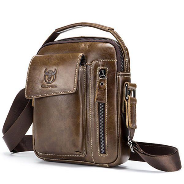 BULLCAPTAIN Men Shoulder Bag Leather Handbag Soft Crossbody Messenger Satchel