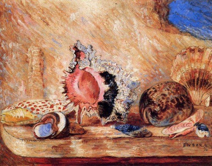 Coquillages, huile de James Ensor (1860-1949, Belgium)