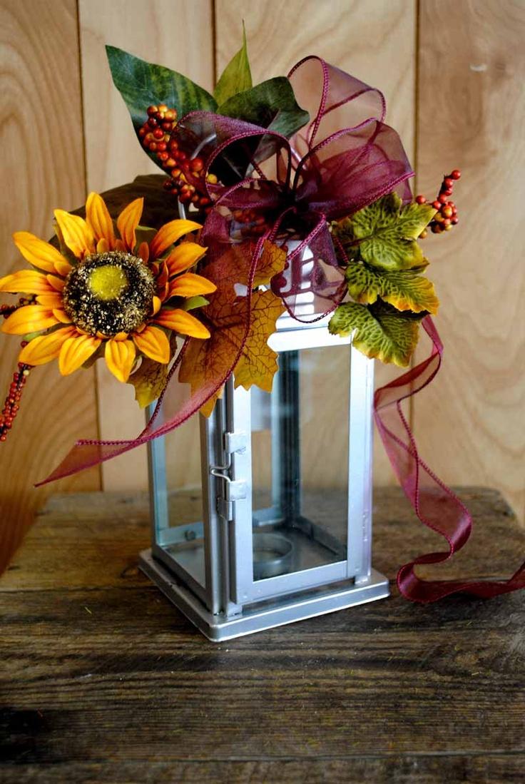 1480 bedste billeder om crafts lantern mailbox swags for Fall fake flower arrangement ideas