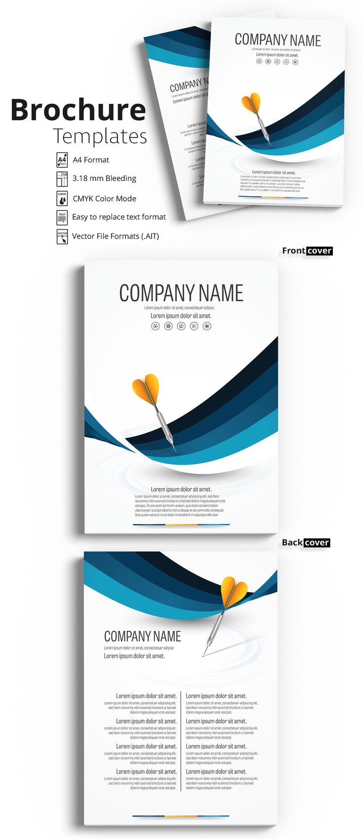 Brochure Cover Layout with Blue  Accents and Yellow Darts - image | Adobe Stock #Brochure #Business #Proposal #Booklet #Flyer #Template #Design #Layout #Cover #Book #Booklet #A4 #Annual #Report| Brochure template | Brochure design template | Flyers | Template | Brochures | Flyer Background | Background design | Business Proposal | Proposal Design | Booklet | Professional | Professional - Proposal - Brochure - Template