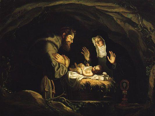 """Josefa de Óbidos, """"S. Francisco de Assis e Santa Clara adorando o Menino Jesus"""" (1647)"""