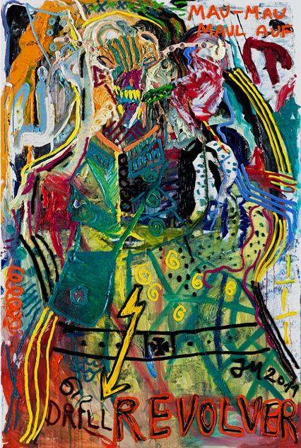 """Jonathan Meese. Jonathan Meese hat bei uns 2013 zur """"Mythos Wagner"""" Ausstellung einige seiner Werke gezeigt."""