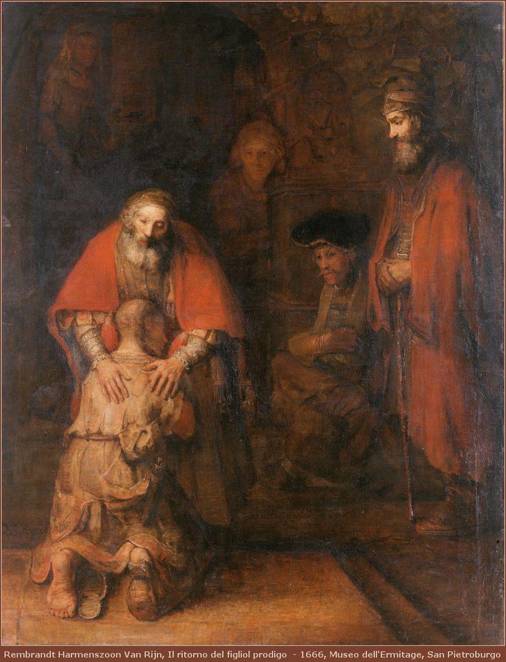 """Il ritorno del figliol prodigo, un quadro di Rembrandt Tempo fa, durante un'omelia, il celebrante ha commentato  la parabola del """"figliol prodigo"""" (Luca 15, 11-32) ricordando, anche, l'interpretazione data da Rembrandt al momento dell'abbraccio tra il pa #ilritornodelfigliolprodigo #pittura"""