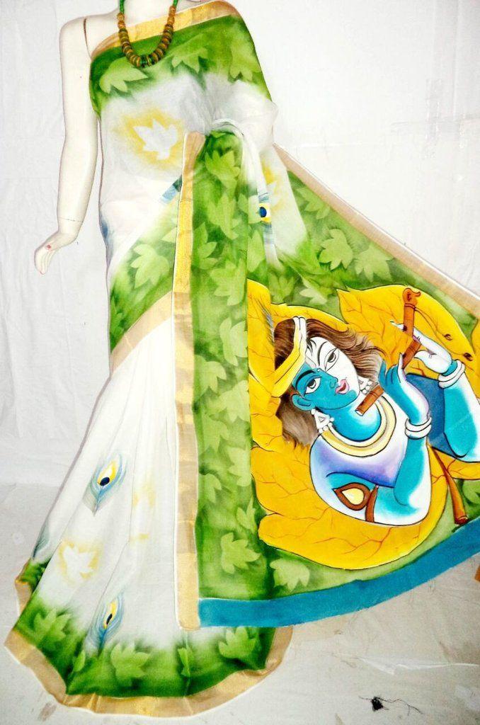 Artistic Kerala Kasavu Pure Cotton Hand Painted Saree