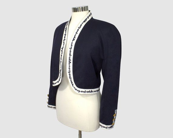 Mondi By Escada Vintage 1980s Cropped Bolero Blazer Jacket