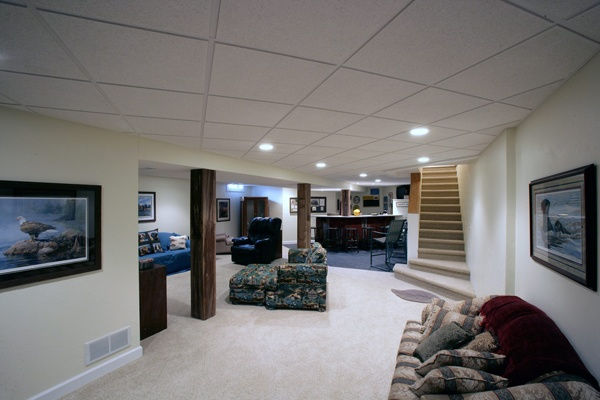 Genesis Ceiling Tiles are waterproof and washable, mold- and mildew-resistant, Perfect for basements!
