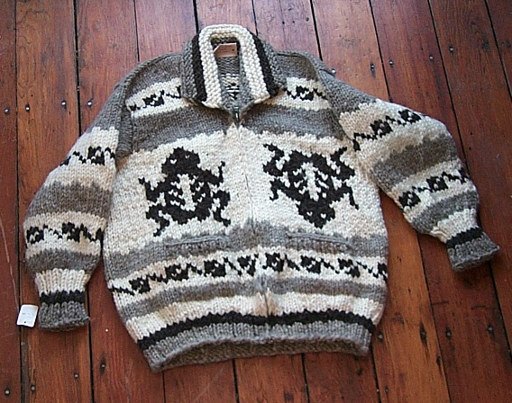 Cowichan Sweater: Frog Design from Hill's
