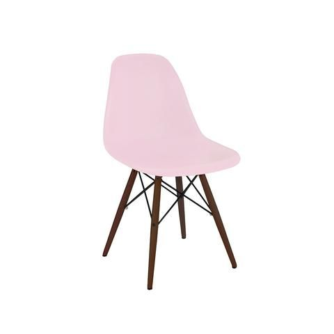 Trige Baby Pink Side Chair with Walnut Wood Base (Set of 2)   Modern Dining Chair by Design Lab MN at Contemporary Modern Furniture  Warehouse - 1