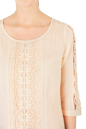 Tops  Blouses | Neutral Lace Insert Smock Top. | Warehouse