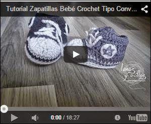 Todo crochet: Tutorial Zapatillas Bebé Crochet Tipo Converse Pas...