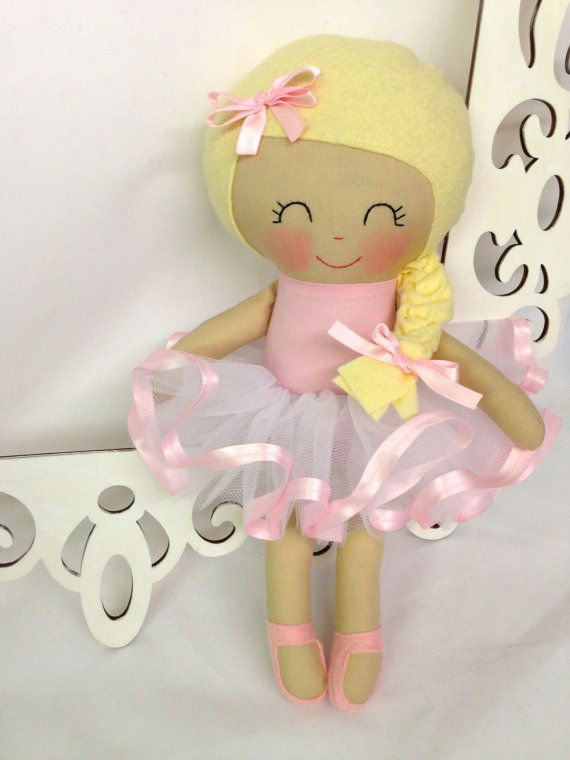 Ballerina Handmade Doll Rag Doll Fabric Dolls by SewManyPretties #ballerinagift #girlgift