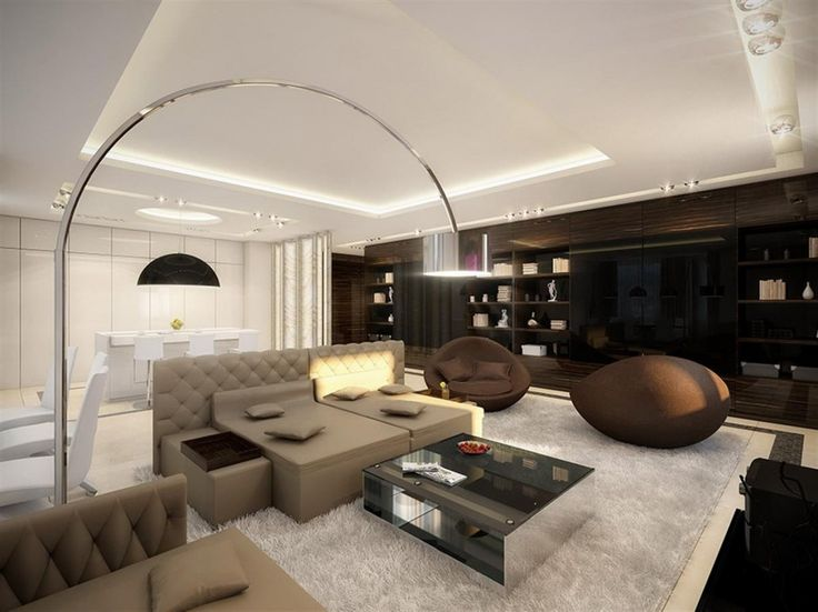 Brown and White Color Scheme Large Living Room Ideas with   Brown and White Color Scheme Large Living Room Ideas with Comfortable  Fabric Sofa Furniture complete with Pillows and Modern Metal Chrome Curved  Sh     . Large Living Room Design. Home Design Ideas