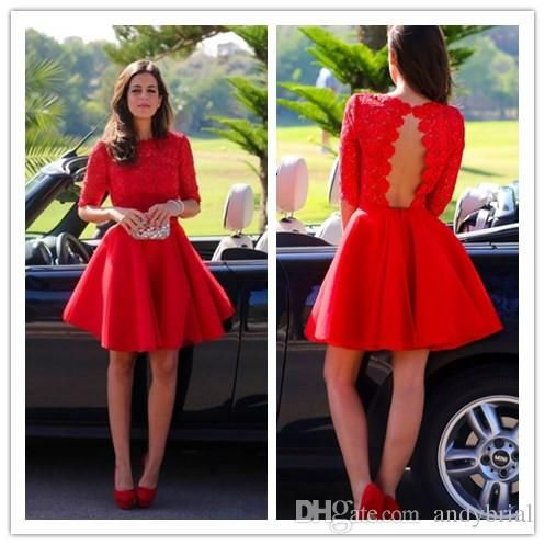 2015 wedding party dresses with half sleeves cocktail dresses keyhole knee length homecoming dresses a line red wedding guest dresses
