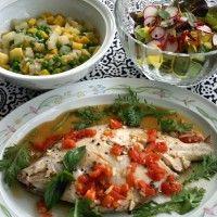 鰈のパピヨット4色野菜のスープ煮   Fleur de sel 塩の華