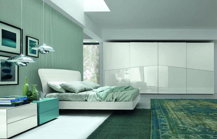 #blue #white #modern #bedroom