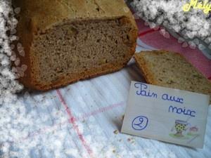 Pain aux noix MAP  290 ml d'eau  150 gr de farine de seigle  355 gr de farine T 80  6 gr de sel  7 gr de levain fermentescible  1 c à c de jus de citron  50 gr de cerneaux de noix cassés en morceaux    programme 5 (pain français) – 750 gr – croûte moyenne.