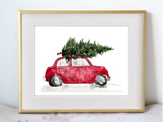A Christmas Car, Watercolor Painting Print, Seasonal Home Decor, Holiday wall art for the home, thanksgiving decor, Orange artwork – Evelyn Schneider
