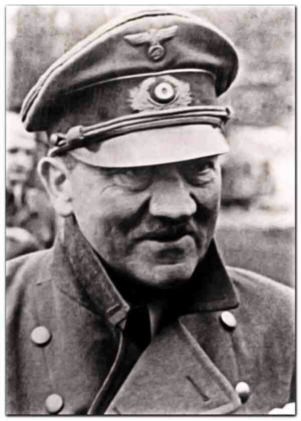 One of the very last photos of Hitler taken in the garden of the underground bunker shortly before he committed suicide on April 30, 1945. This is the face of an old man, with all the fire gone from his eyes. He is wearing an old, worn out cap and the faint smile is there because he is meeting child soldiers fighting the Russians.