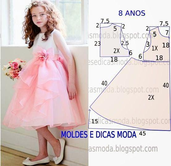 ARTE COM QUIANE - Paps,Moldes,E.V.A,Feltro,Costuras,Fofuchas 3D: Vestido de festa para menina 8 anos