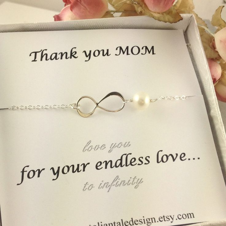 Mothers Day Gift, Mother Infinity Bracelet, Sterling Silver, Pearl, Gift For Mother, Mother Of the Bride Gift, Mother Of Groom, Unique Gift. $29.00, via Etsy.