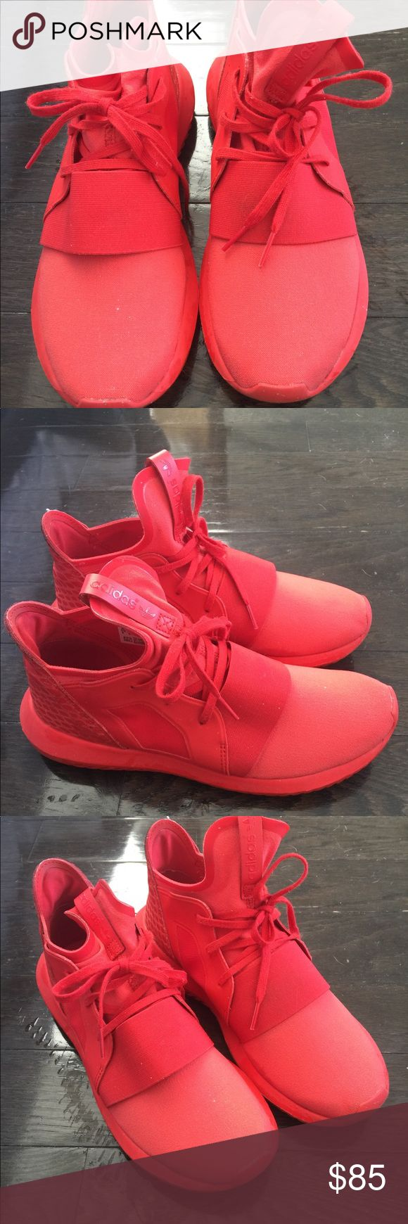 Adidas tubular defiant red sneakers All red adidas tubular defiant! Hard to find colorway.  Barely worn--only about 3 times.  Size 8 women's adidas Shoes Sneakers