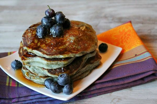 Greek Yogurt Pancakes Recipe Breakfast and Brunch with nonfat greek yogurt, large eggs, Gold Medal All Purpose Flour, baking soda, fresh blueberries
