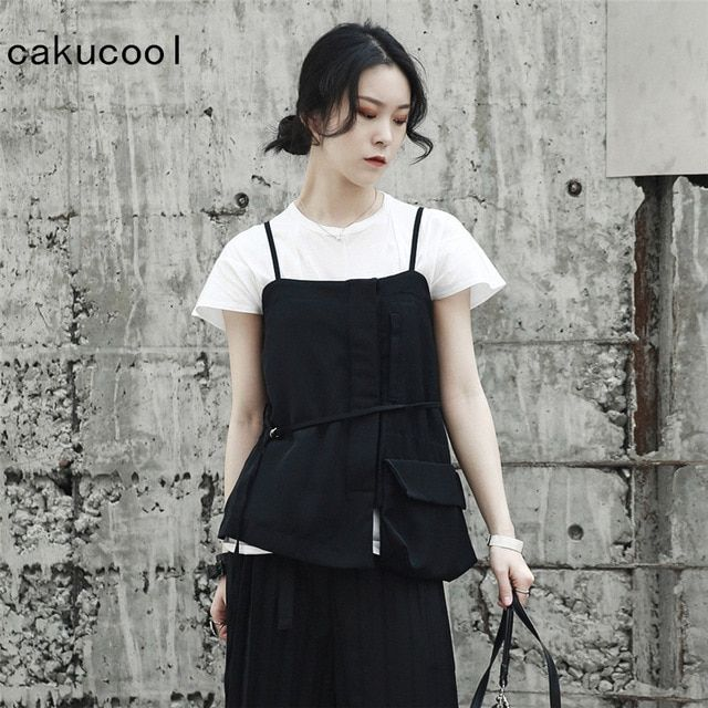 66f13644a59c8 Cakucool New Harajuku Vests of Women Spring Summer Black Pullover ...