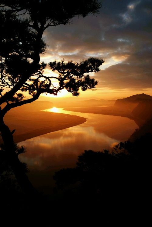 Winding river, sunset, sunrise, water, reflections, clouds, tree, beauty of Nature, silhouette, beautiful, sunbeams, photo