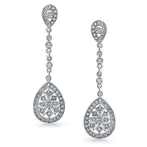Bling Jewelry Cz Teardrop Bridal Chandelier Earrings Rhodium Plated Brass