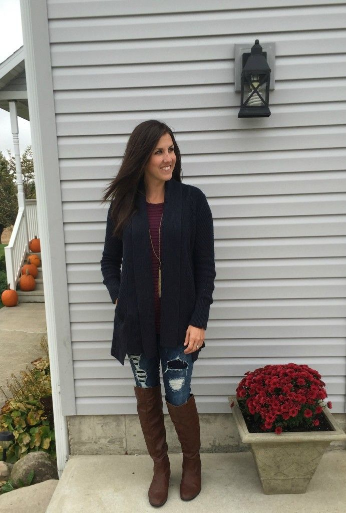 navy cardigan outfit, distressed jeans outfit idea, brown knee high outfit idea, navy cardigan outfit idea