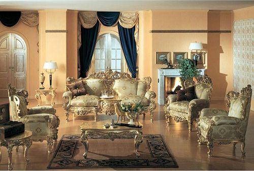 Gold Living Room Furniture Luxury European Classical Sofa Set