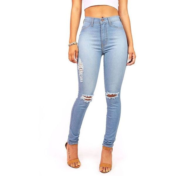 Vibrant Women's Juniors Ripped Knee High Waist Skinny Jeans ($48 ...
