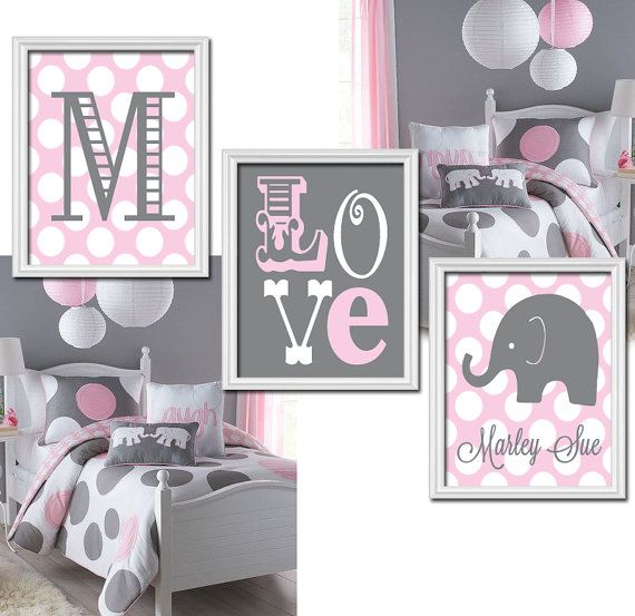 Pink Gray Nursery Girl Elephant Nursery Wall Art by TRMdesign