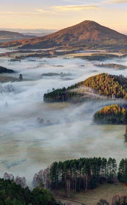 Morning fog, České Švýcarsko National Park (also known as Czech Switzerland), Czech Republic