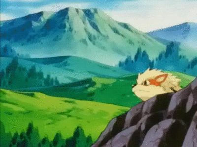 Gary Oak is riding a skateboard pulled by an arcanine
