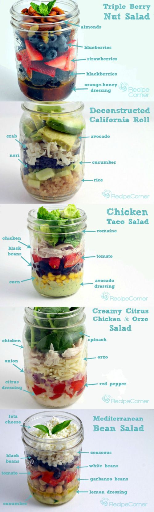 5 idées de salades en pot (en anglais) 5 Affordable Mason Jar Salads Under 500 Calories…RECIPES
