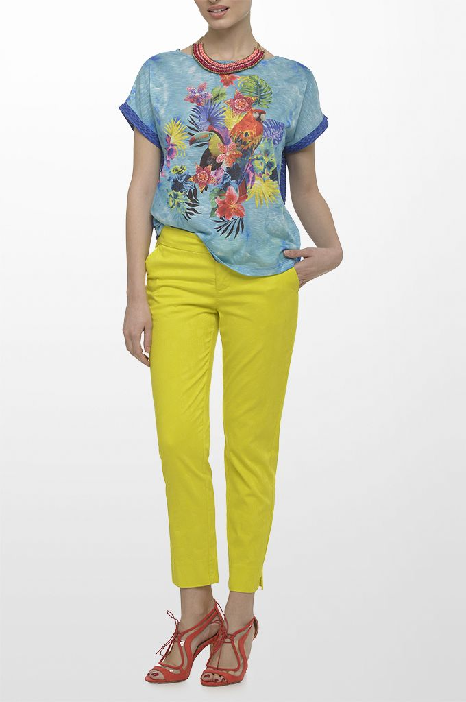Sarah Lawrence - short sleeve printed blouse with combination of two fabrics, cropped jacquard straight leg pant, beaded necklace.