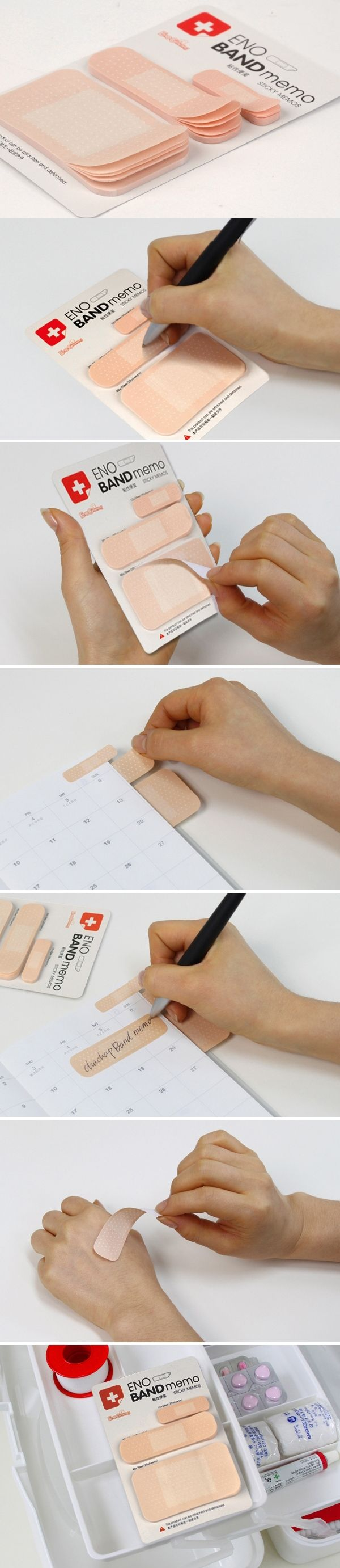 This is a band-aid style notepad/memo, three different size(1x4cm, 2x7cm, 4x7cm, each size include 20 sheet) with self-stick back the notepad/memo can paste in any place you want to ensure that you wi   [L]