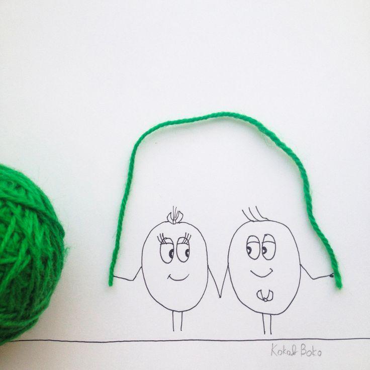 It's always better together! :) #kokoboko #love #together #smile #happy #green #jumpingrope #girl #boy #illustration #art #drawing