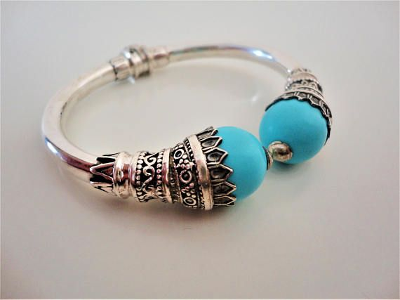 Turquoise 925 Sterling Silver Bracelet. Ancient Greek style