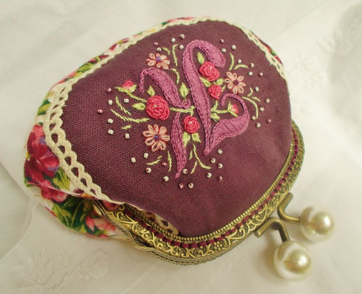 K is for .....hand embroidered coin purse in plum  Sold/ special order x