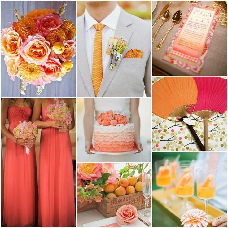 Orange and coral! I love the color of the bridesmaids dresses, Sarah