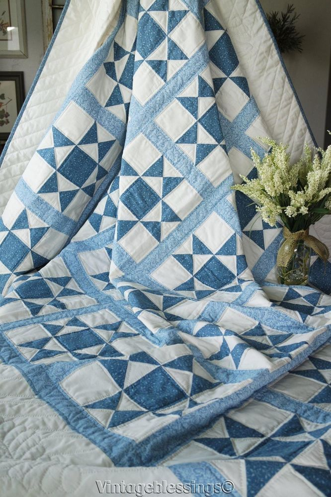 Modern American Well Made Blue & White Ohio Stars QUILT 109x93 King Size