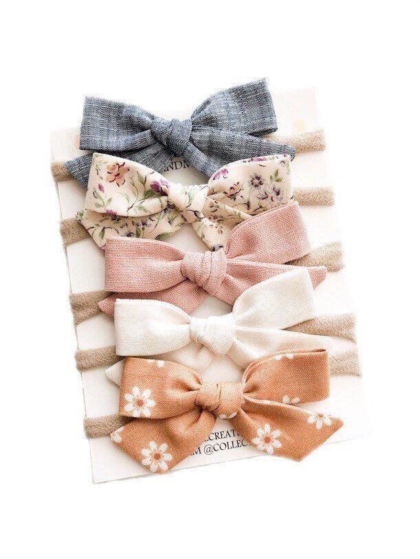 Dusky pink Bow Baby Girl Grosgrain Headband Hair Elastic Nylon Band Hand Made